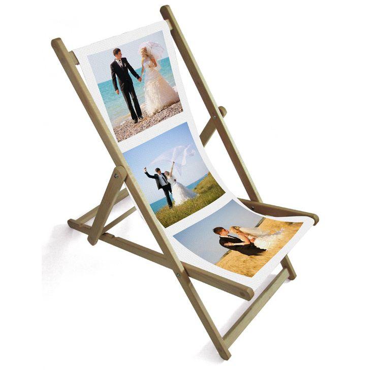 Chaise de plage pliante avec photos de mariage