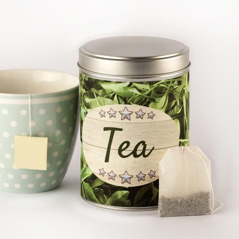 tea bag tin cylinder in shape