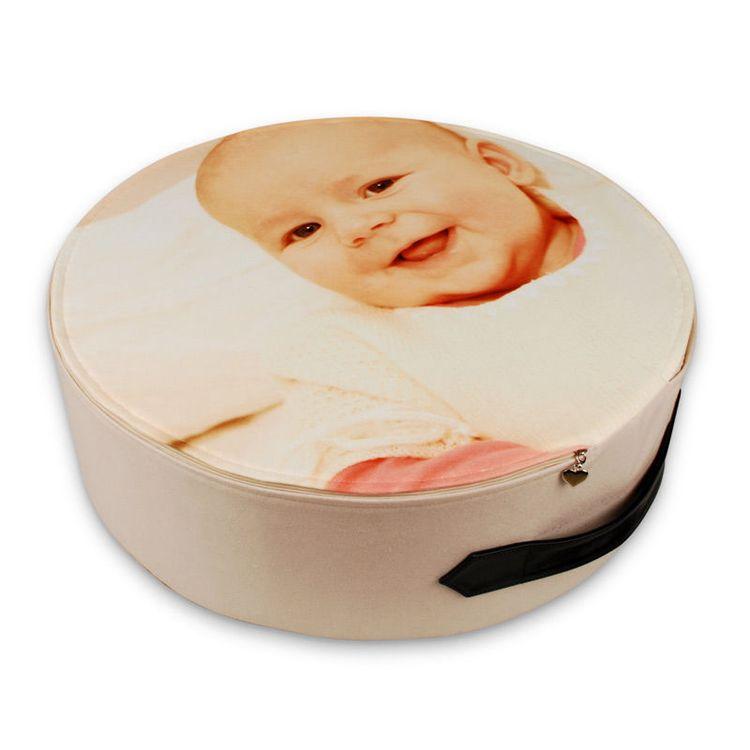 rond vloer kussen geprint met baby foto