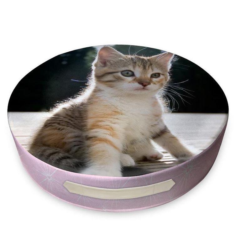 coussin de sol rond personnalisé avec photo de chat
