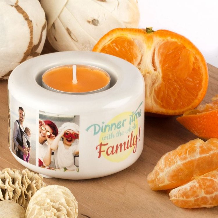Fanal Personalizado con vela de naranja