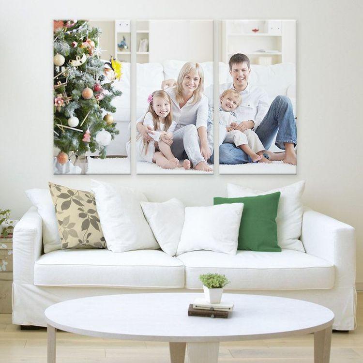 3-delad fotocanvas  familjefoto