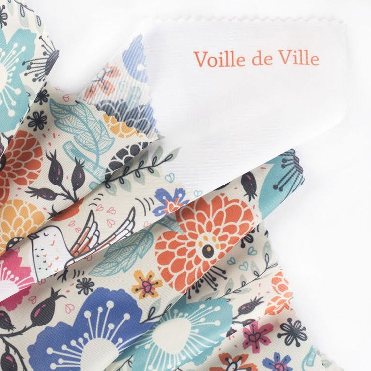 custom printed voile de ville fabric