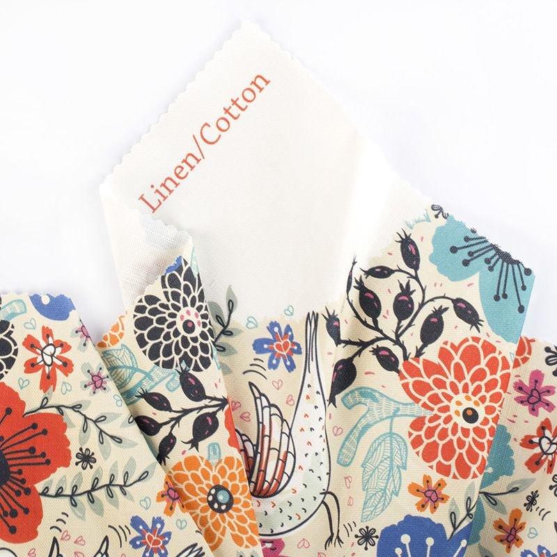 Tissu naturel Coton Lin imprimé avec votre design