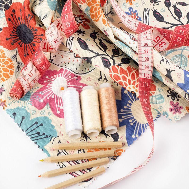 Baumwoll leinen stoff bedrucken stifte maßband