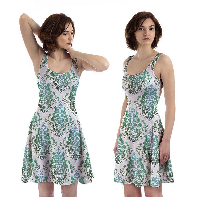 Custom Print Skater Dress With Sleeves