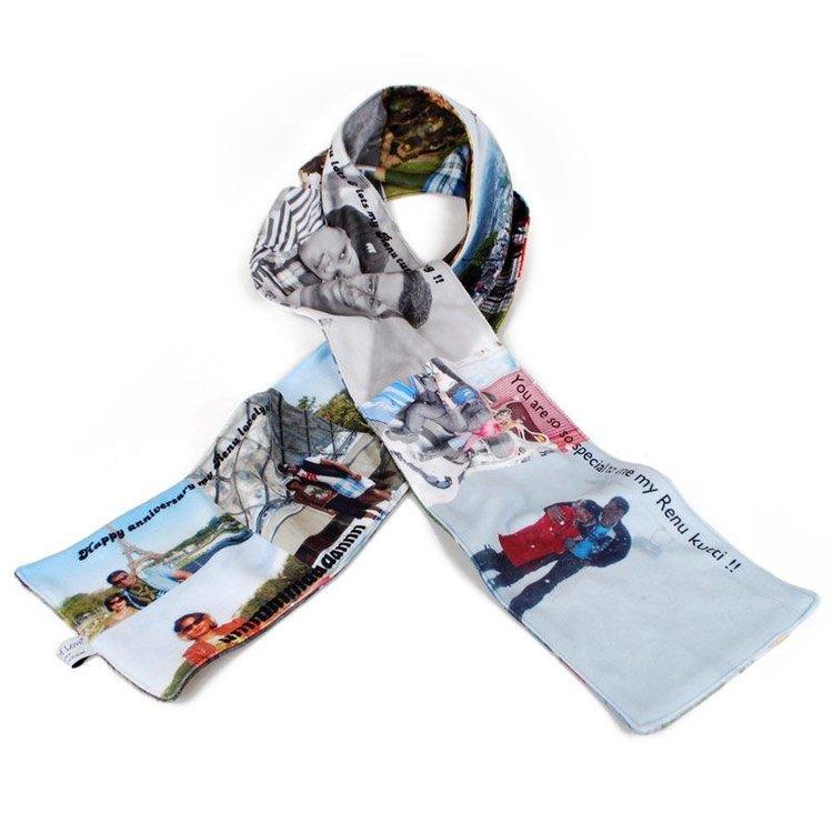 fleece sjaal tekst foto collage