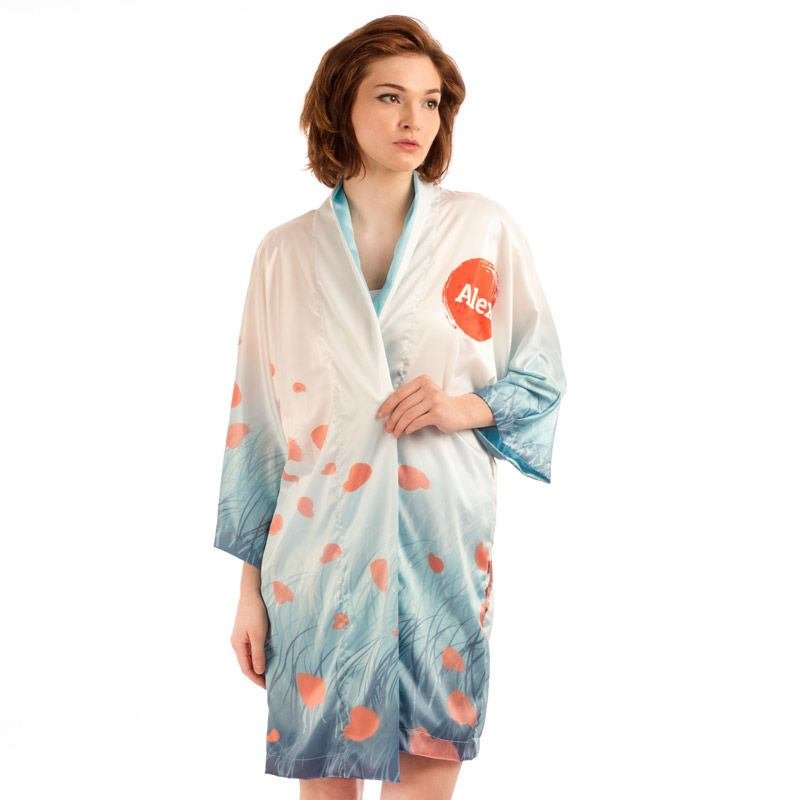 Personalised Kimono Dressing Gown UK. Custom Kimono With Photos