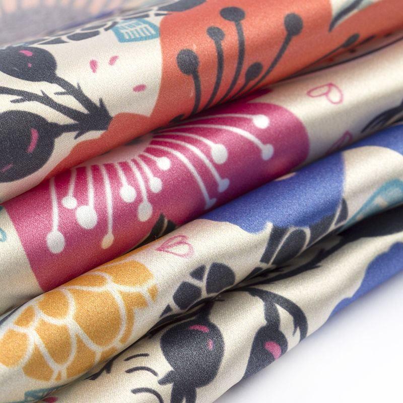digital printing on Silk Satin fabric swatch