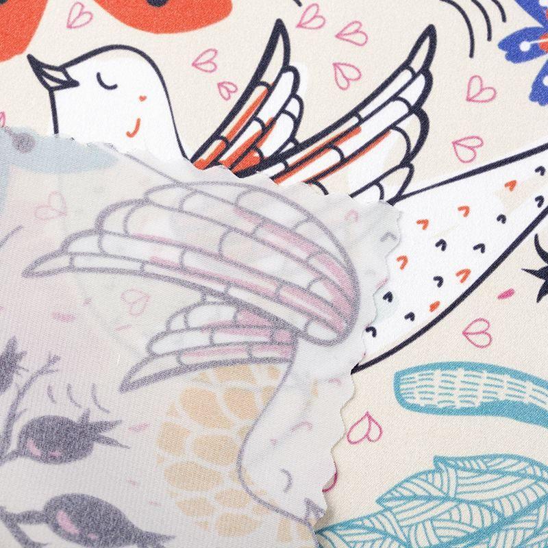 custom Silk Satin fabric small print