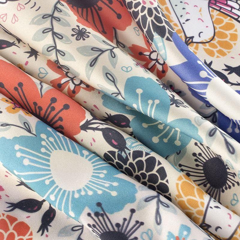 print on Silk Satin fabric