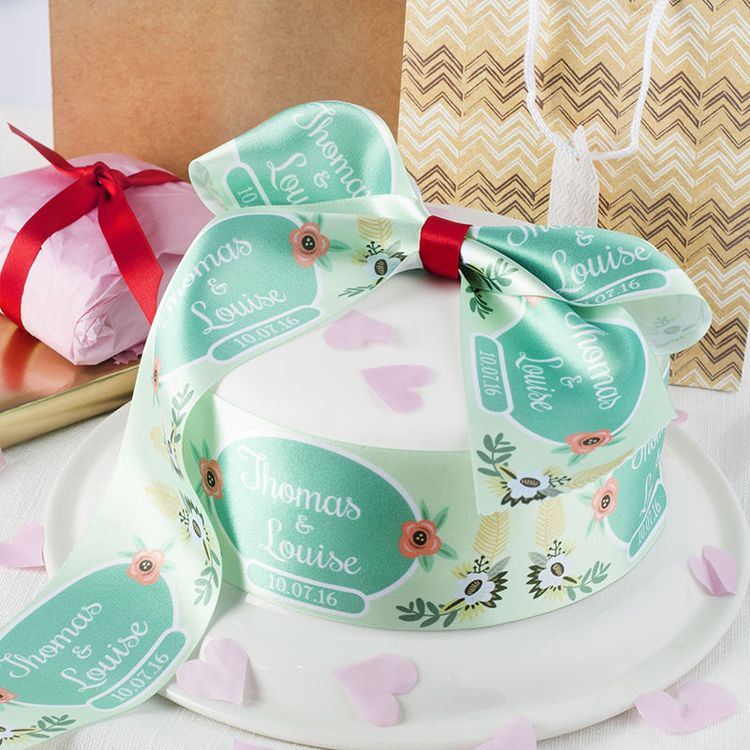 custom ribbon for wedding Cake