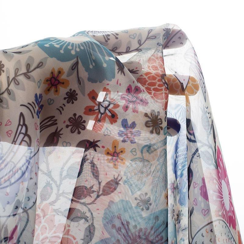 Voile digital print fabric transparency drape