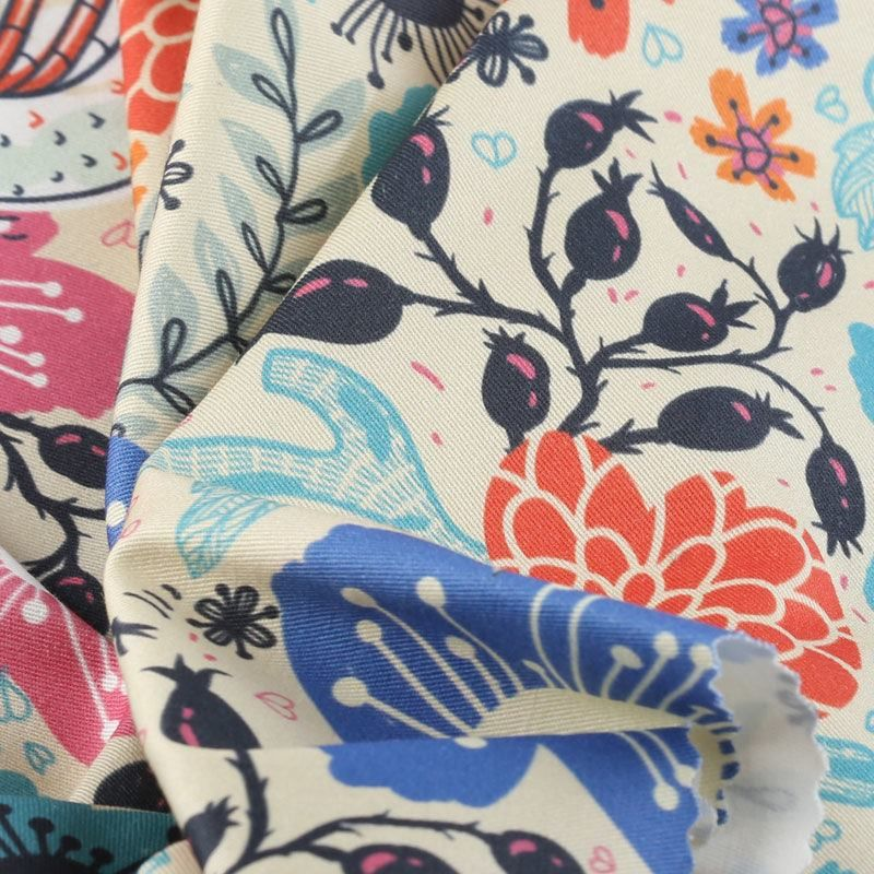 Impresión textil en sarga de algodón
