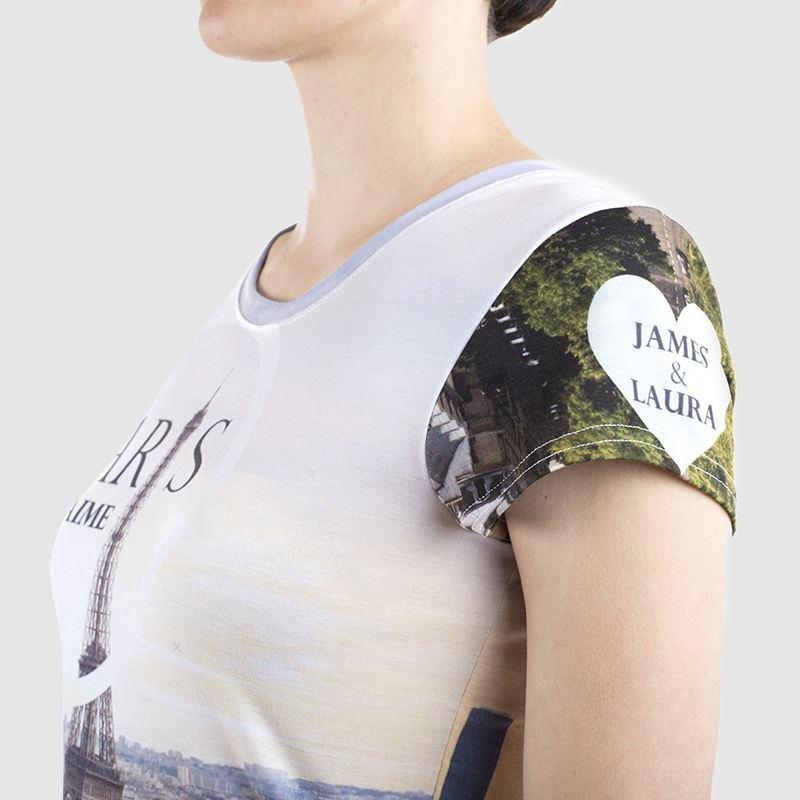 printed women's tee shoulder detail