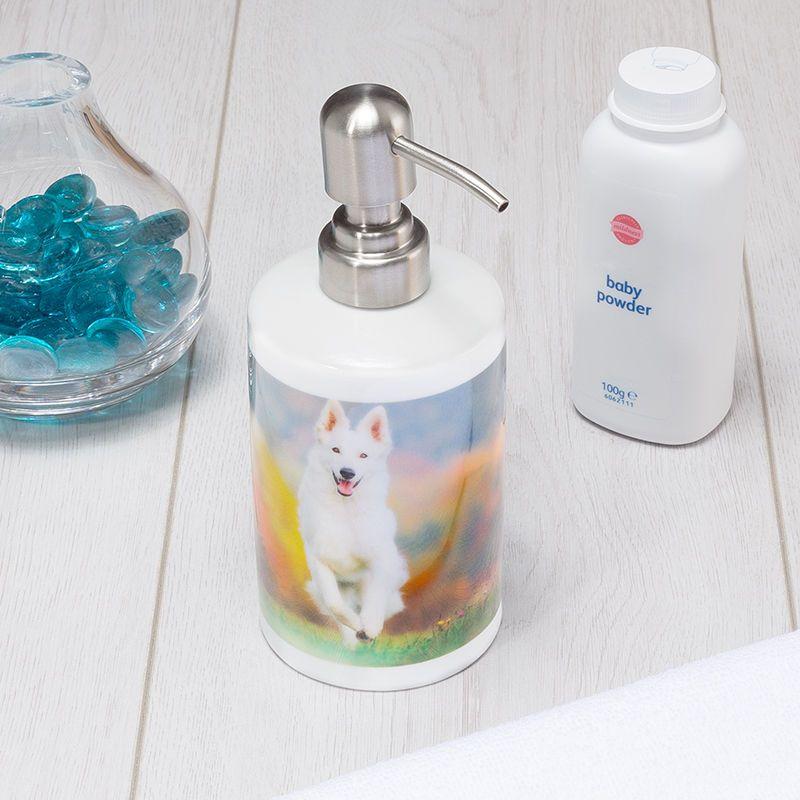 Chrome finished pump dispenser for bathrooms