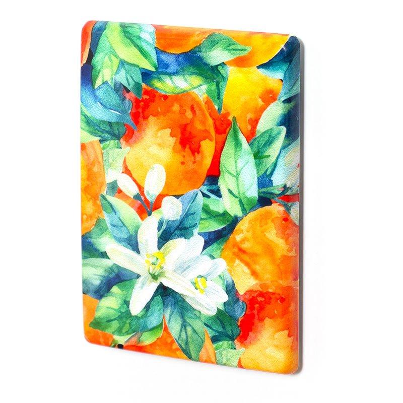 fridge magnets with floral design in orange and blue tones