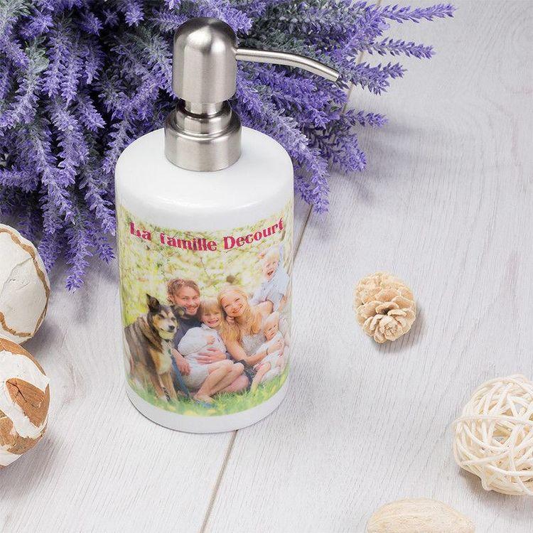 Distributeur de savon personnalisé avec photo de famille