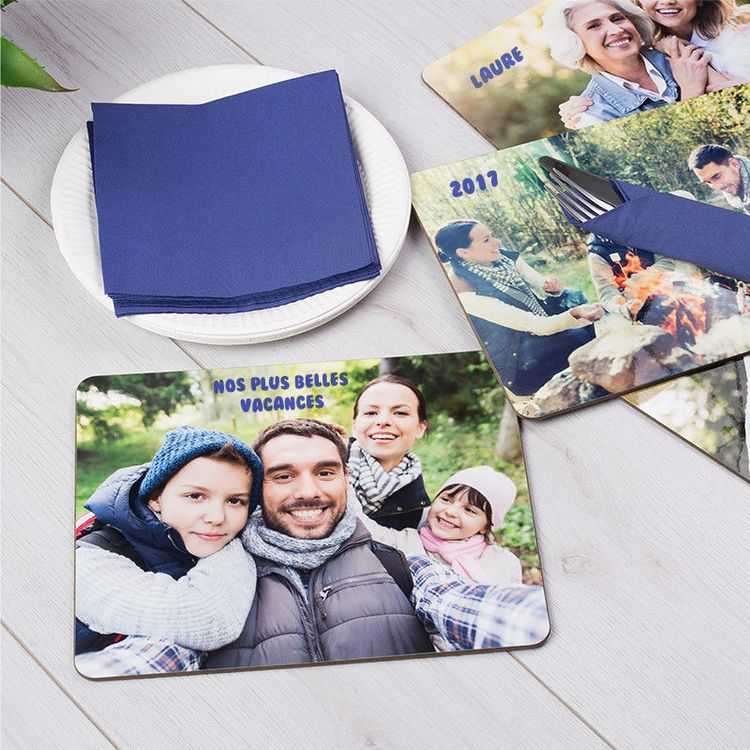 Set de table personnalisé avec photo de famille