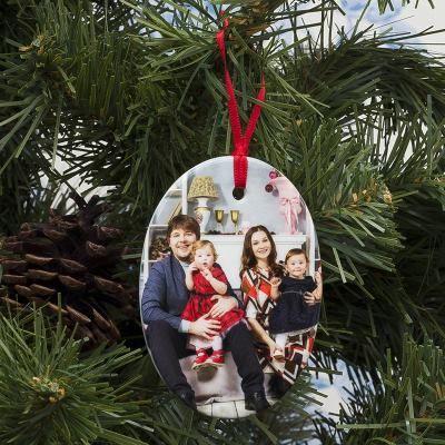 adorno navideño para arbol con fotos