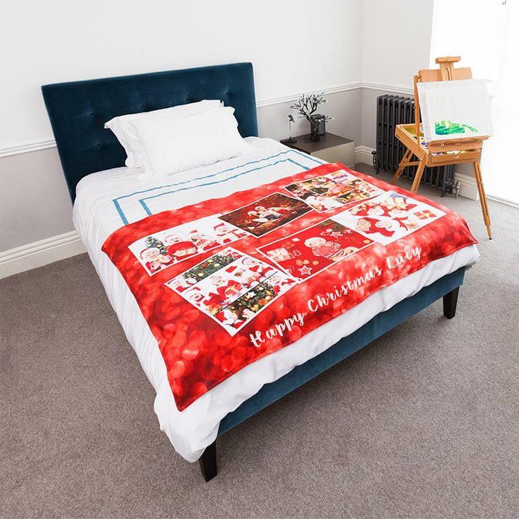 photo collage fleece bedspread