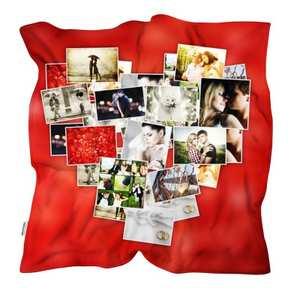Coperta con foto collage a forma di cuore