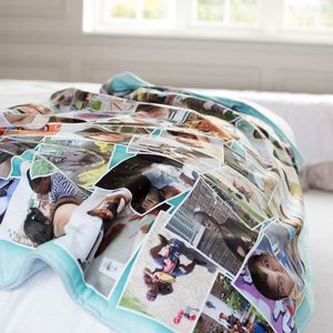 Custom fleece blanket with your photo collage