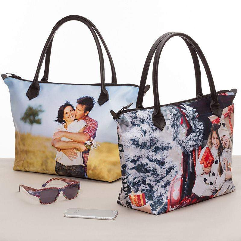 large zip top tote bag custom printed zip top tote with photos. Black Bedroom Furniture Sets. Home Design Ideas