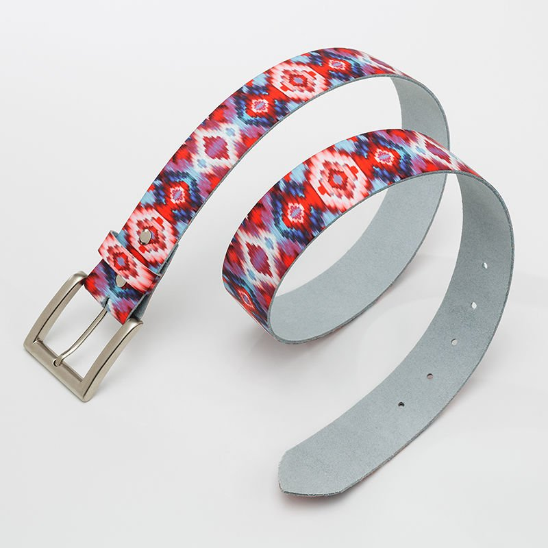 Printed Photo Leather Belt