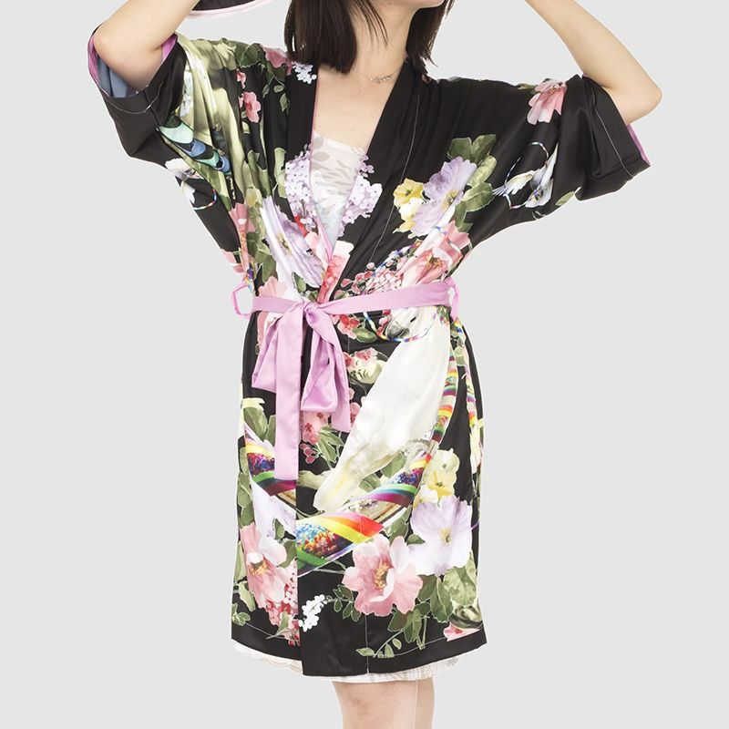 floral design Kimono robe Silk