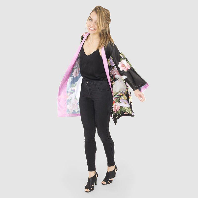 Personalized Kimono Robe Black floral design