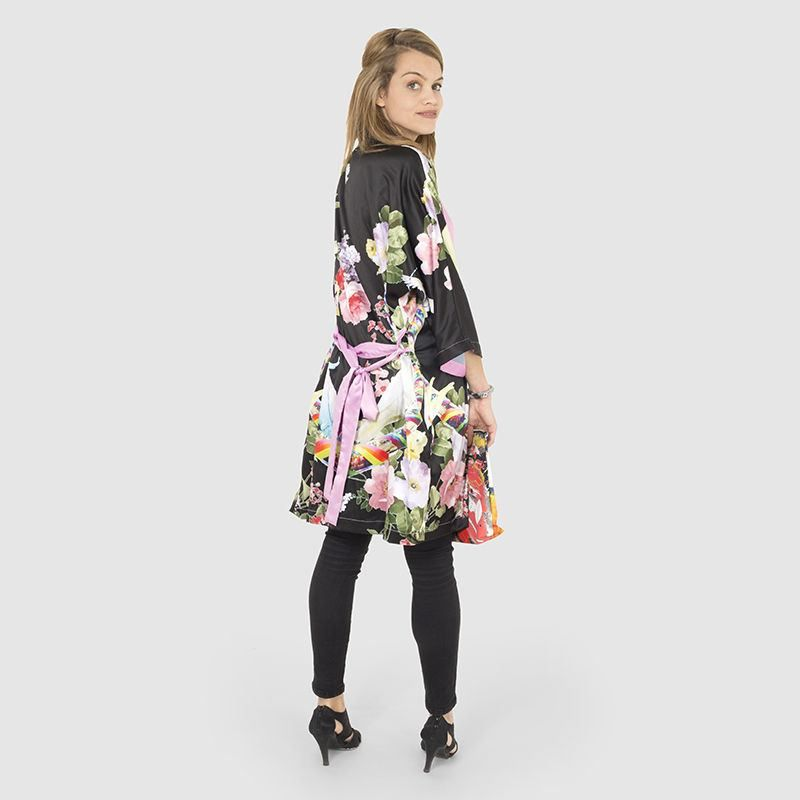 Custom Kimono Robe Black floral design