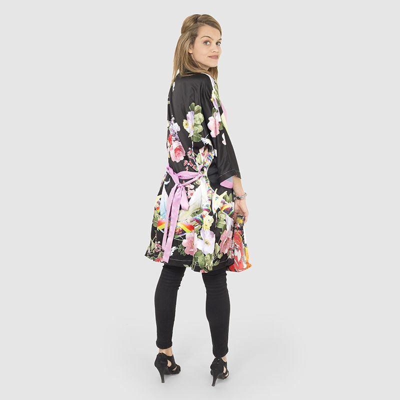 Kimono Robe Black floral design