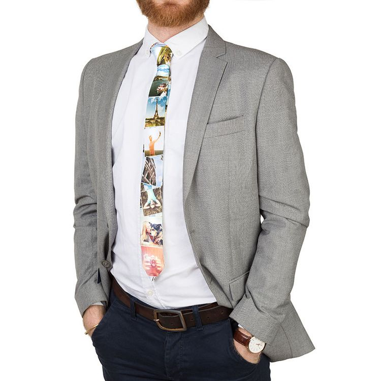 krawatte bedruckt mit fotos schmal