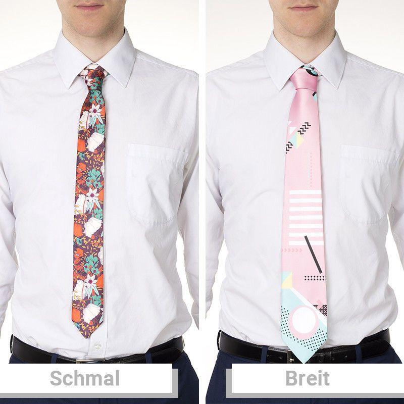 schmale und breite krawatte
