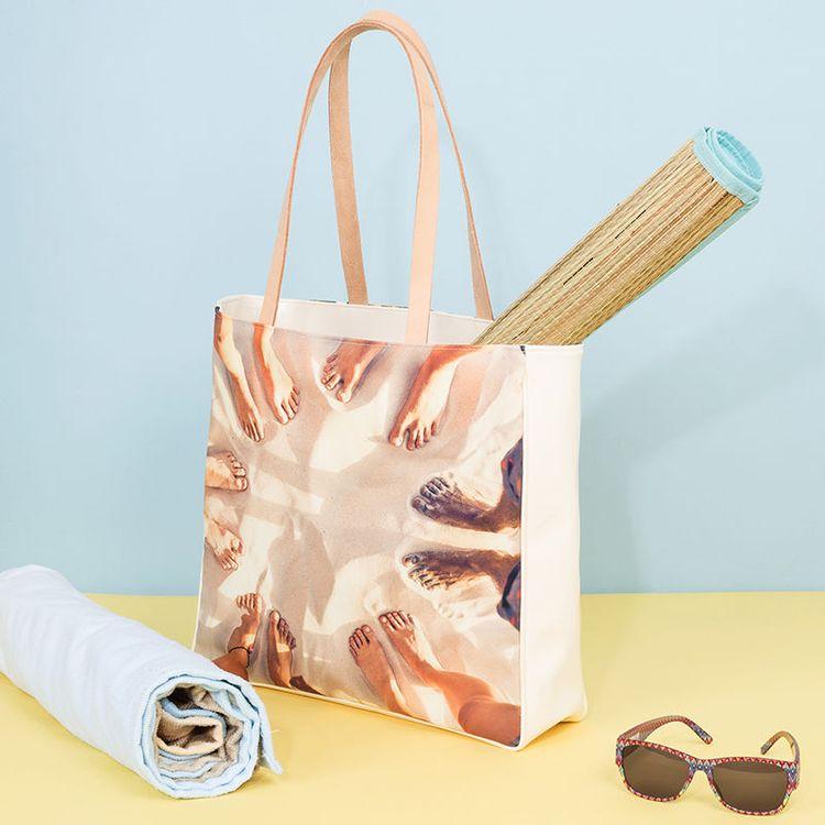 gepersonaliseerde zomerse strandtas