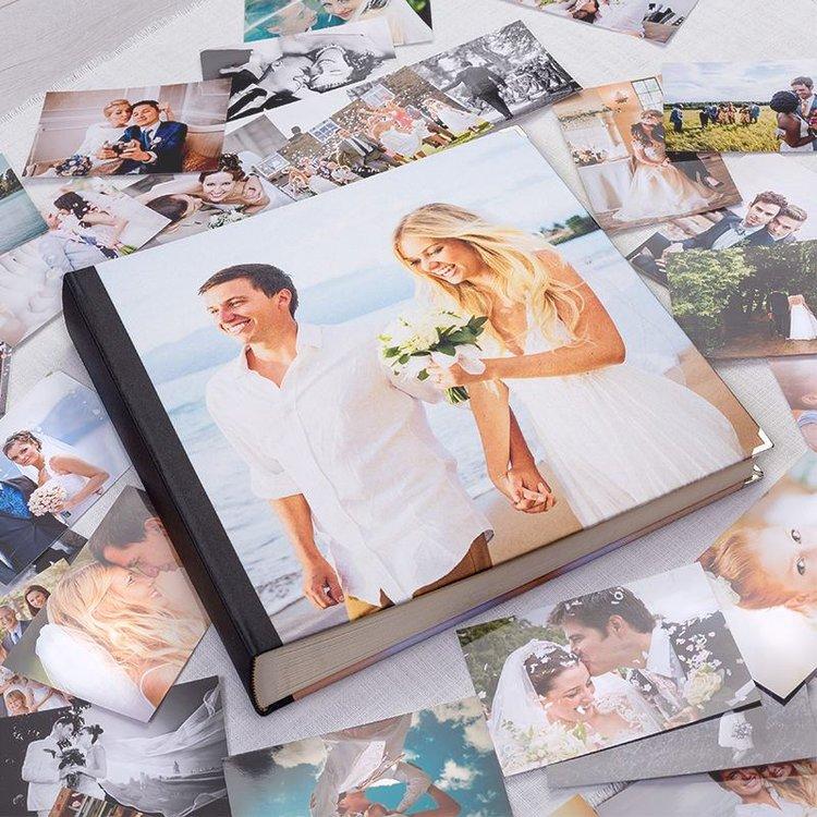 Personligt fotoalbum med eget omslag bröllops