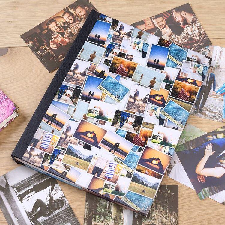 Personlig scrapbook med fotocollage omslag