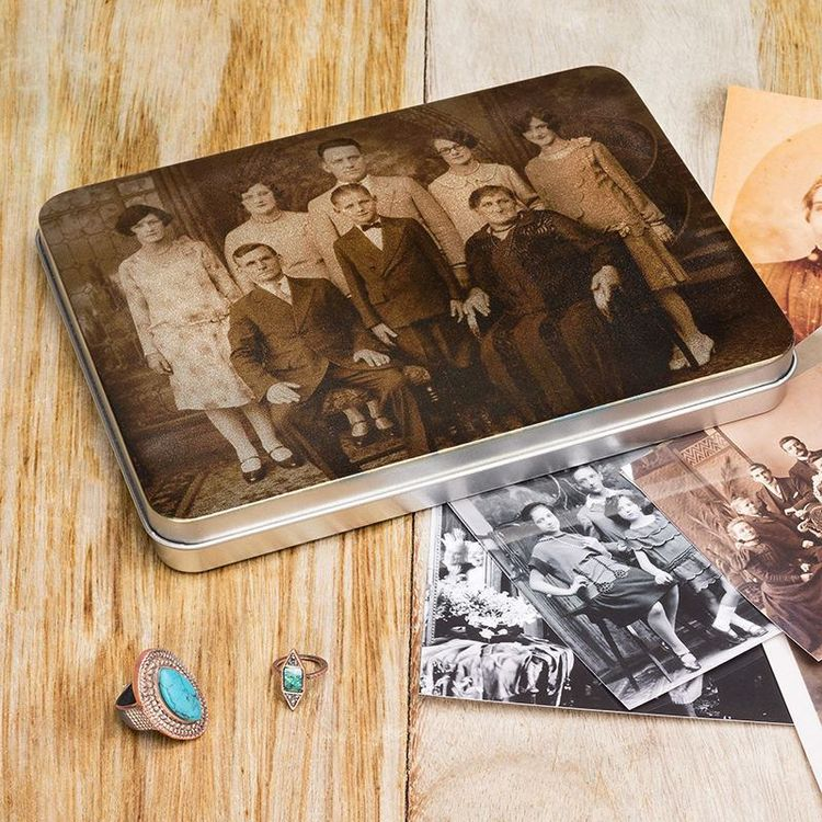 Family memories tin photo and memory trinkets keepsake
