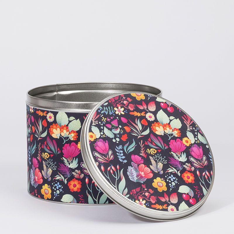 Boîte en métal ronde avec design floral