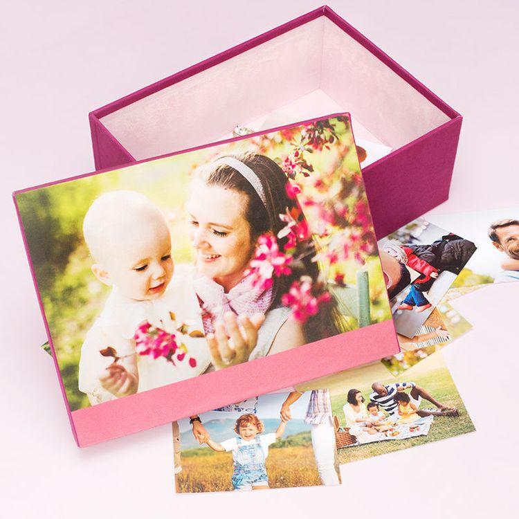 Gepersonaliseerde herinneringendoos bedrukt met moeder en dochter foto