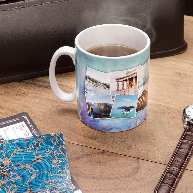 Travel photo mug printed with photo