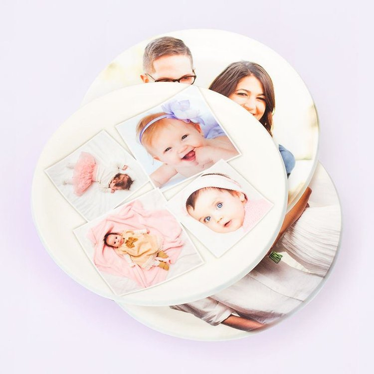 Custom printed coasters with family photo