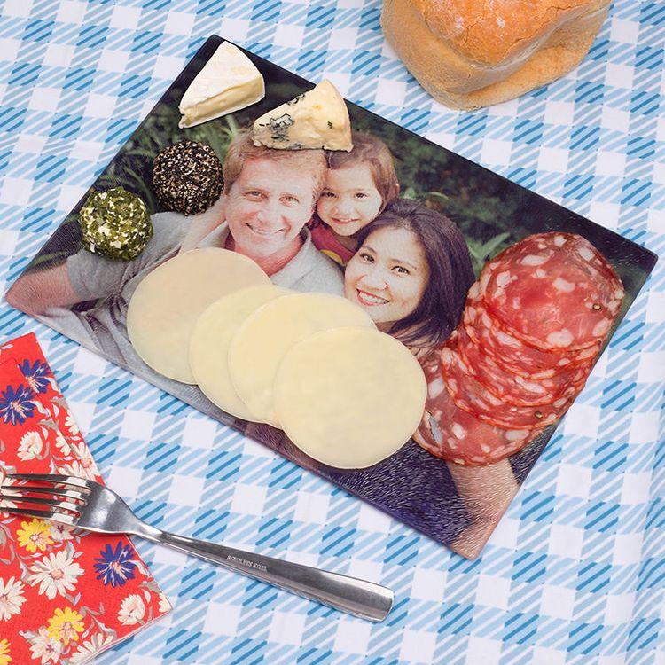 glazen snijplank met foto