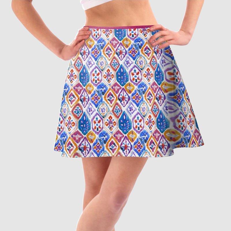 Impression sur jupe trapèze avec motif répété