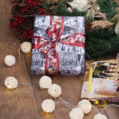papel de regalo navideño con fotos