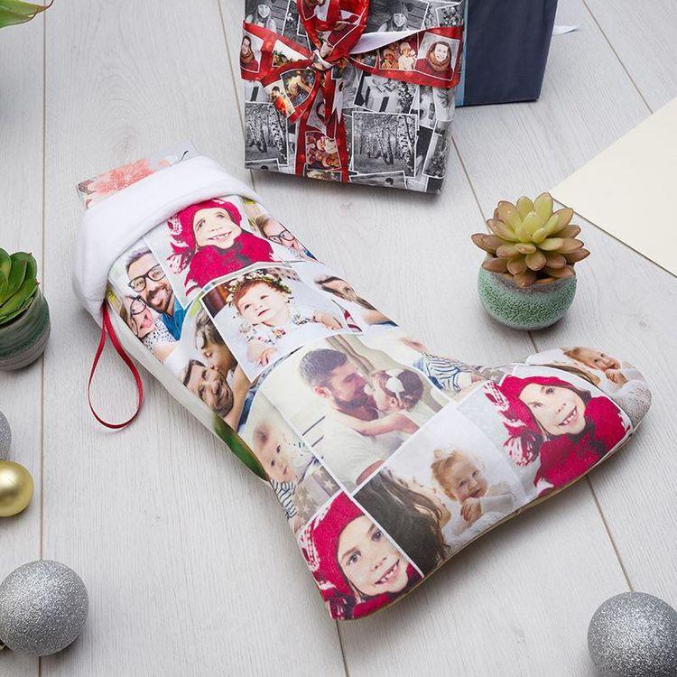 Chaussette de Noël personnalisée avec montage photos