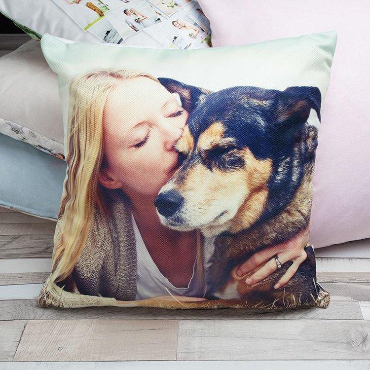 Coussin de luxe personnalisé avec photo de chien