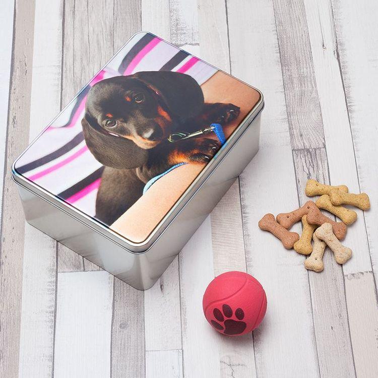 Dog treat storage tin