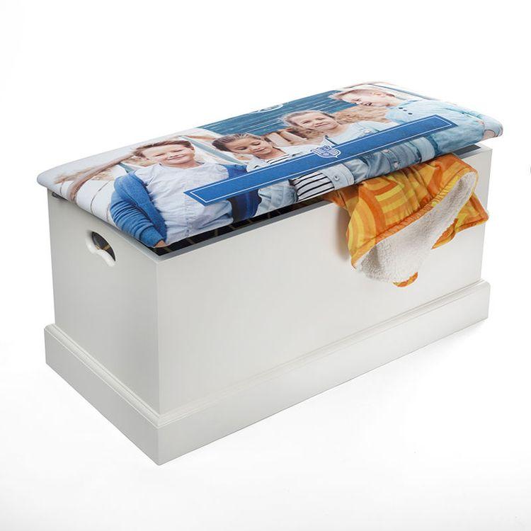 custom hallway storage chest with blanket